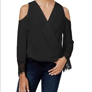 BXC Black Lace Cold Shoulder Blouse